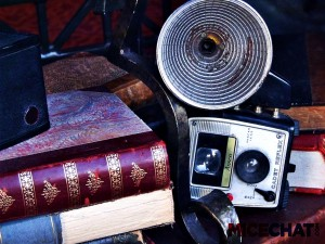 Antique books and camera
