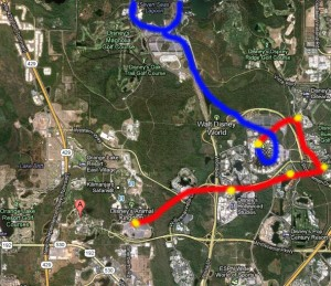 A different idea (not on the master plan): Blue is the existing Epcot line; red would be a direct route to DAK.
