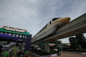 Monorails make inter-park travel fun.