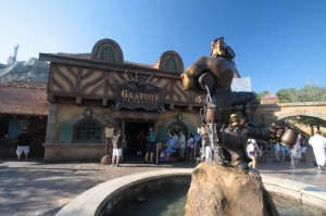 "If you move around the statue in just the right way, a friend assures me, it looks like Gaston is ""filling"" LeFou's cup."