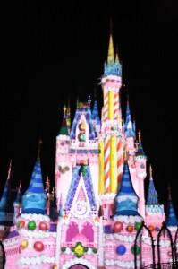 "The holiday tag features a gingerbread castle, candy canes, presents, Christmas lights, and ... the Pepto ""cake"" castle from the 25th celebration."