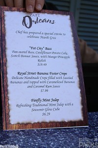 The area restaurants offer special food items too.  Here is the menu from Cafe Orleans.
