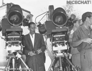 "Photo taken in Spain of two Todd-AO cameras used for simultaneous filming of ""Around the World in 80 Days"" (1956).  One is shooting at 30fps, while the other is shooting at 24fps for later reduction to 35mm."