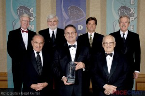 "Thea Awards Lifetime Achievement recipients, clockwise from top left: Don Iwerks, Barry Upson, Monty Lunde, Tony Baxter, Harrison ""Buzz"" Price, Bob Rogers, Marty Sklar.  Courtesy Themed Entertainment Association (TEA)."