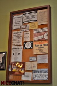 Town notice board inside Fiddler, Fifer and Practical Cafe