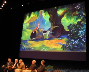 2nd panel of animators, Andy Gaskill, Burny Mattinson, Ron Clements, John Musker and John Lefler with Fox and the Hound shown on the screen