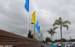New flags have been placed outside of the temporary entrance.