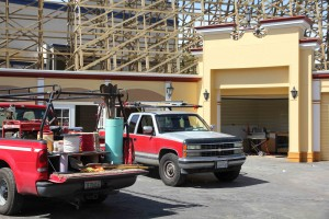 Trucks in front of the new Gold Striker Gifts store