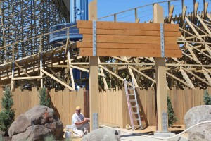 Workers keep busy constructing the new entrance to Gold Striker