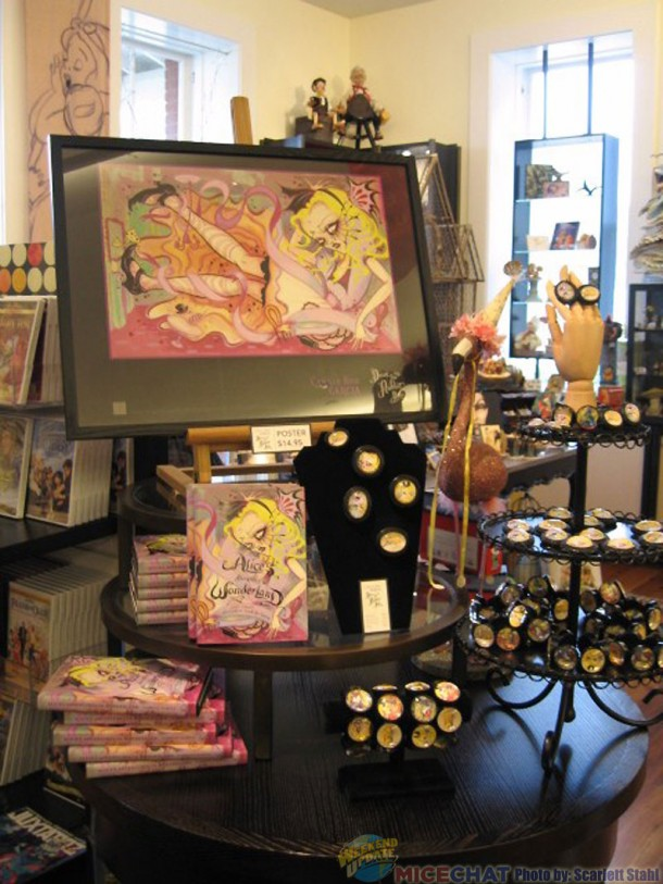 Camille Rose Garcia's Alice merchandise at the Walt Disney Family Museum Gift Shop.