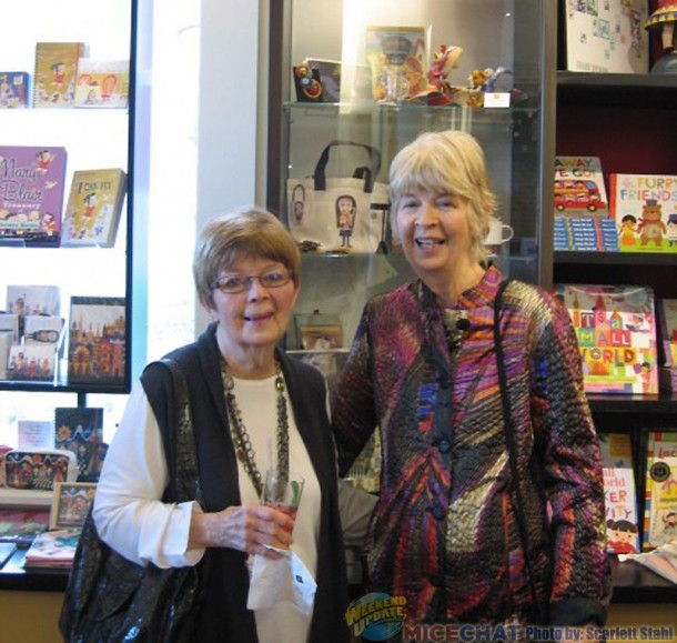 Jeanne Chamberlain and Maggie Richardson in front of the Mary Blair merchandise at the Walt Disney Family Museum Gift Shop.