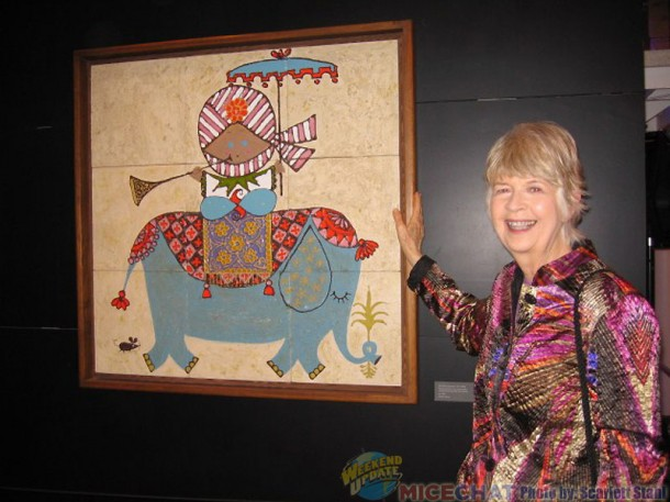 Maggie Richardson with a Mary Blair tile.