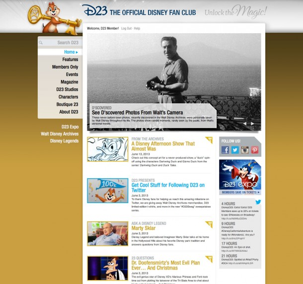 Once you have logged in have logged in to the website, the background changes to gold and you can access all the articles noted with the gold title and the golden key next to them. Members Only content on D23.com.