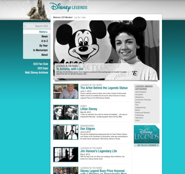 The Disney Legends program was established in 1987 to acknowledge and honor the many individuals whose imagination, talents, and dreams have created the Disney magic. From DisneyLegends.com.
