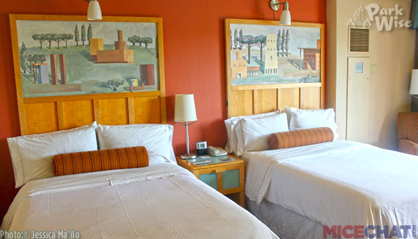 Want to be closer to the magic at a lower rate and a more mellow atmosphere?  Consider the Swan, Dolphin or other non-Disney owned and operated hotels on property.