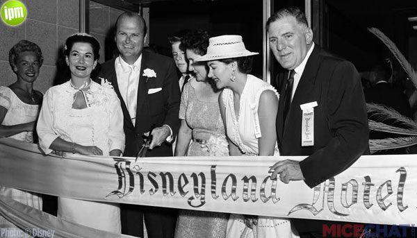 Jack Wrather and family at opening of Disneyland Hotel