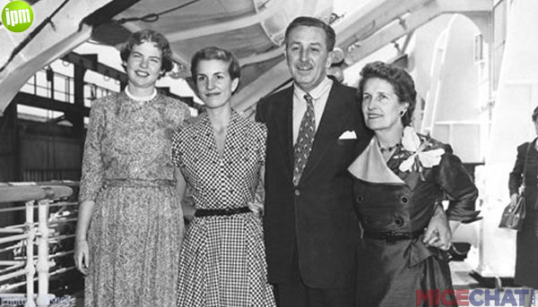 Walt Disney and family traveling on Queen Mary