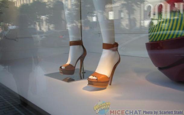 Many women wore stiletto heels like these.