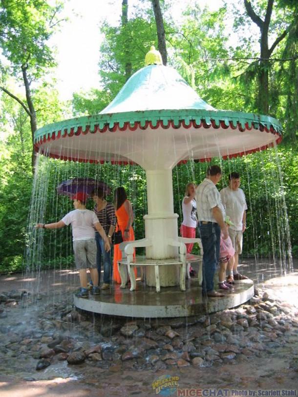 Whimsical umbrella fountain