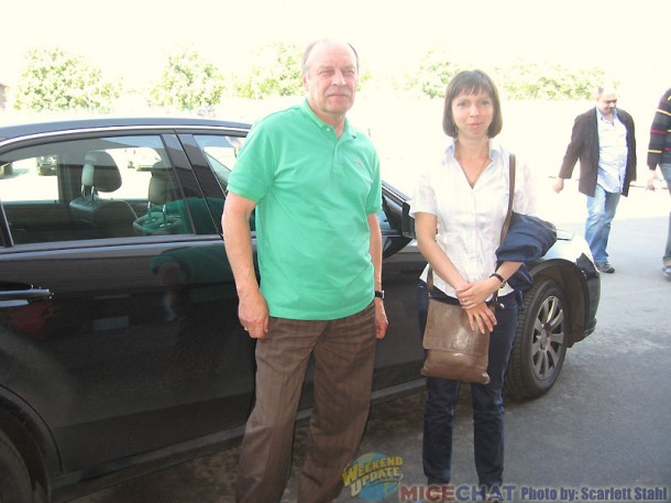 Our driver Slava and our guide Katya in front of the Mercedes