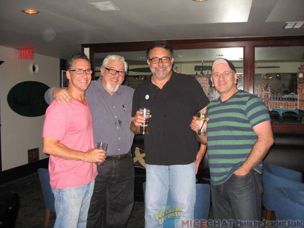 L-R Matthew O'Callaghan ( animator Bennie the Cab, Lena Hyena, and Chef Louie in Mermaid), Tom Sito (animator and author as well as professor at USC), Don Hahn (producer), Joe Haidar ( animator, did a lot of Gaston in Beauty and the Beast)