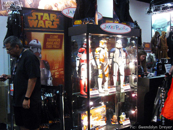 JakksPacific, a toy and consumer product company, was prominently advertising their upcoming big figure clone trooper line.