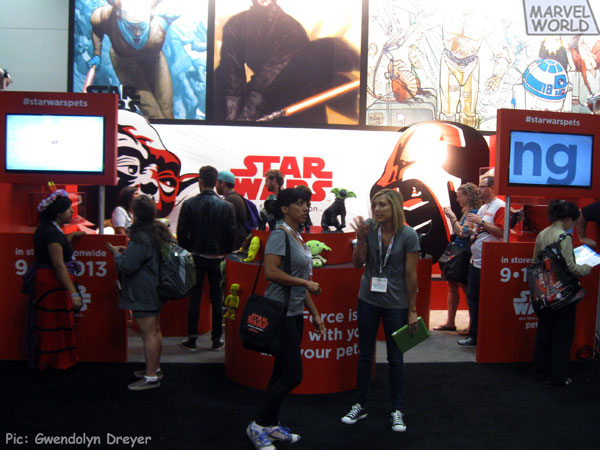 Petco, in their San Diego Comic-Con debut, was showcasing their line of Star Wars pet accessories including a Yoda ear hat for dogs.