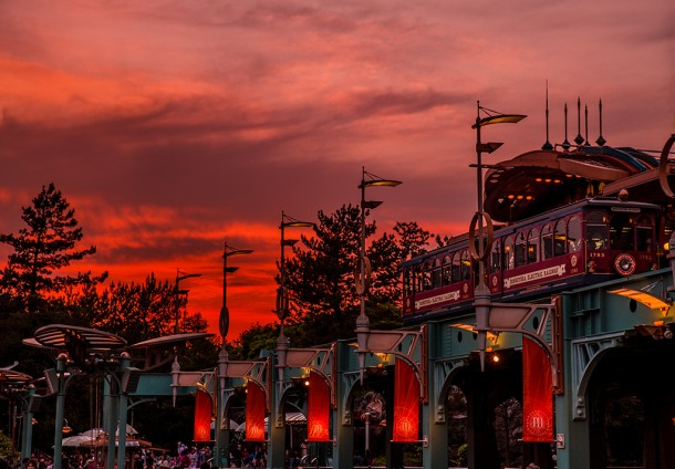 disneysea-electric-railway-sunset