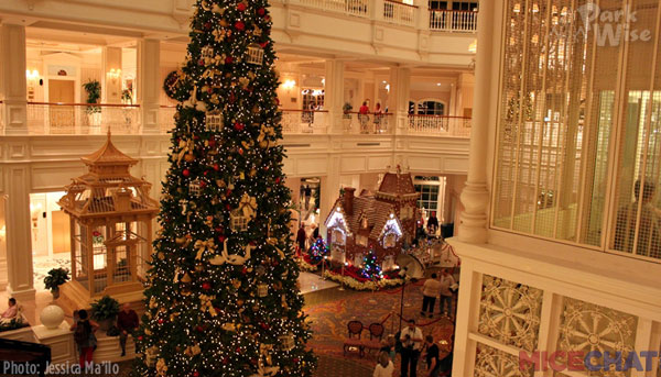 Disney's Grand Floridian Resort & Spa features a life-size gingerbread house and huge Christmas tree.