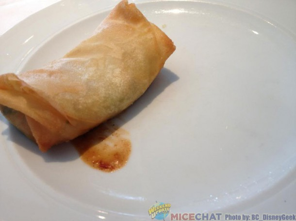 Brik - Tunisian crisp fired turnover filled with seafood and harrisa paste.