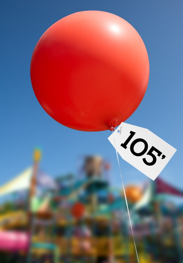 a hight balloon to signify that an attraction 105 feet tall will be built at Aquatica in Orlando