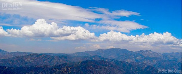 Lift producing cumulus clouds over the San Gabriel Mountains