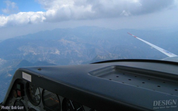Soaring view over the mountains with the propellor stopped