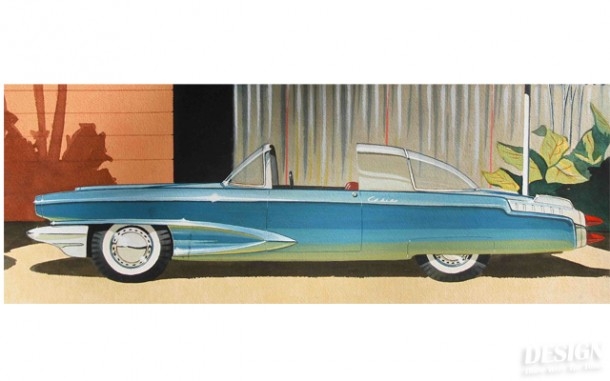 "T18-3 Bob Gurr ""Casino"" Rendering - 1951 Art Center School Art Class"
