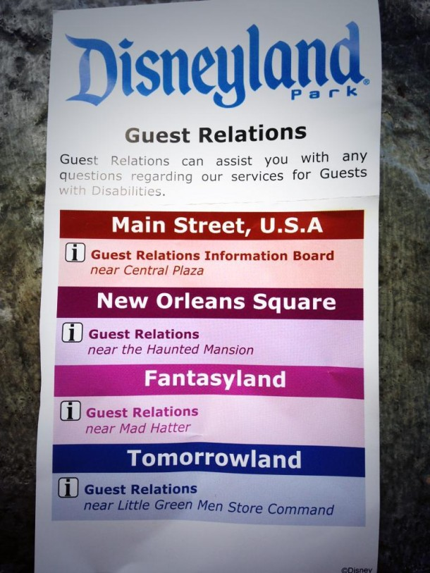 GUests assigned DAS cards are given this location card.