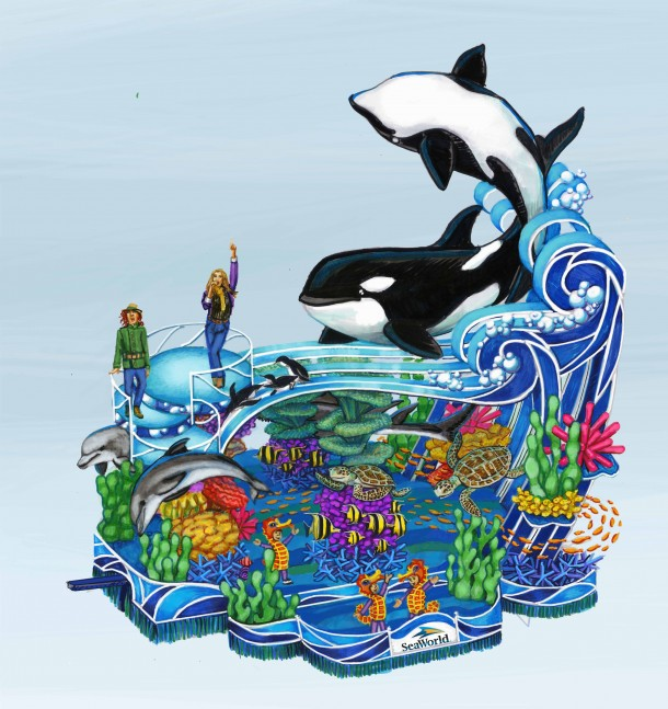 2013 SeaWorld's A Sea of Surprises- Macy's Parade float concept sketch main view