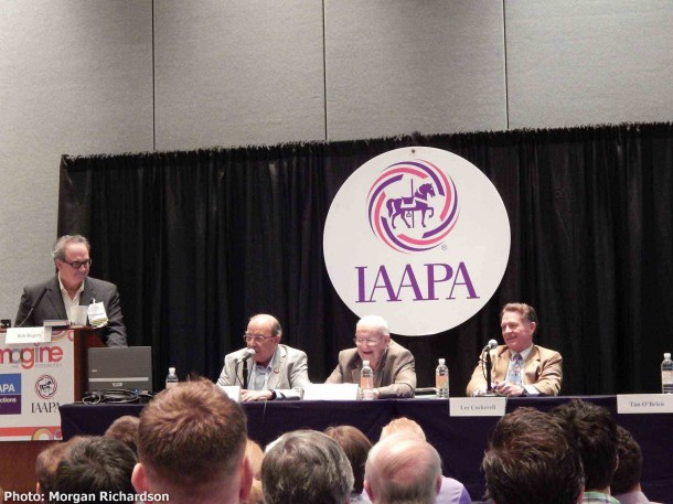 Marty Sklar, Jack Lindquist and Lee Cockerell address the audience during the Legends Panel.