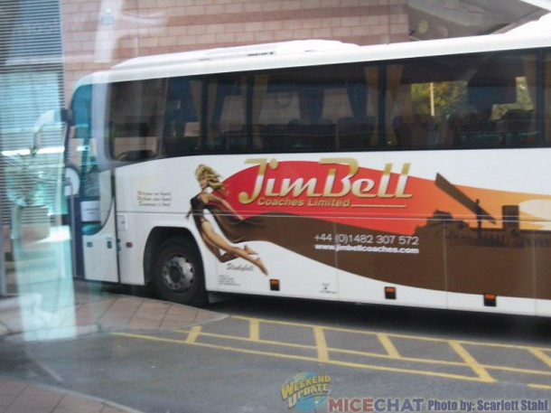 A coach at Bradford Airport owned by Jim Bell coaches called Stinkerbell