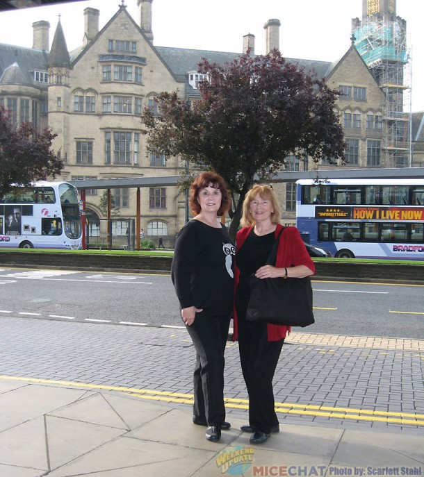 Linda and Scarlett with Bradford City Hall in the background