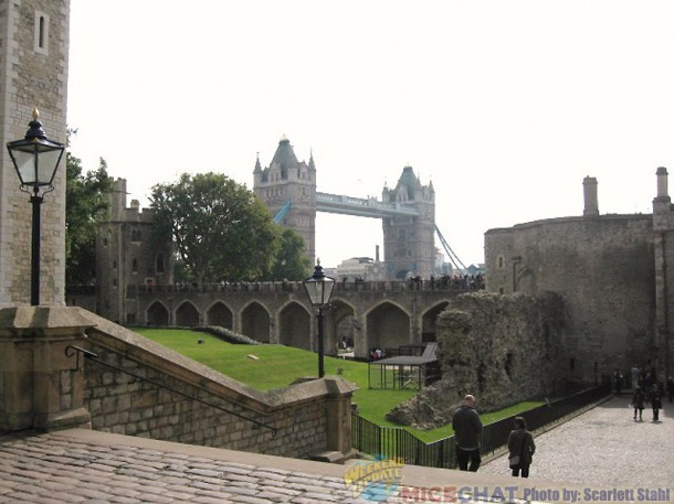 Tower of London with Tower Bridge in background
