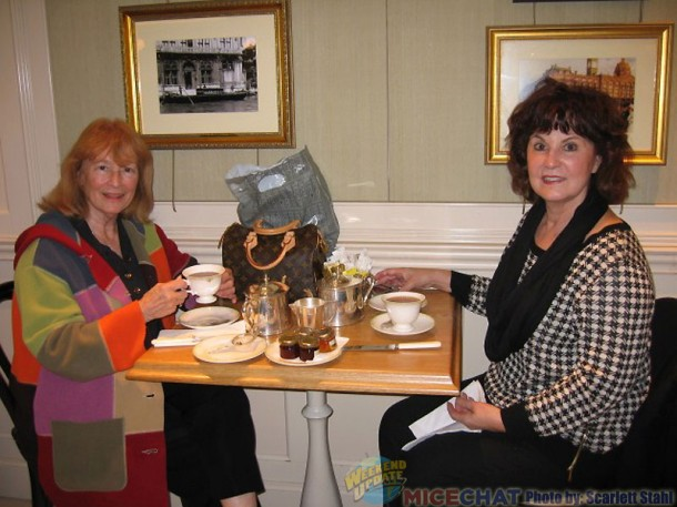 Scarlett and Linda having tea and scones at Harrods Department Store