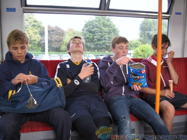 English boys on train