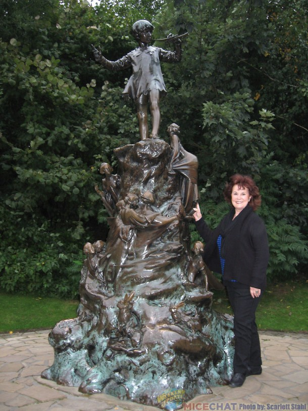 Linda at Peter Pan statue in Kensington Gardens London