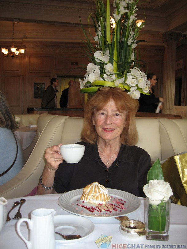 Scarlett with tea and Baked Alaska for her birthday at Harrods