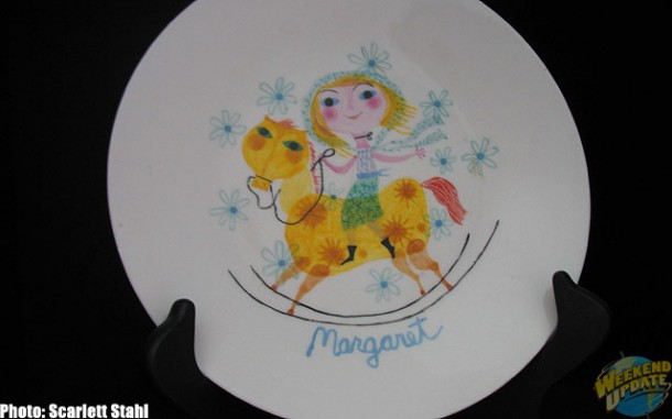 Maggie's Rocking Horse plate in bookcase