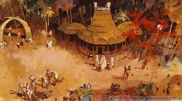 Herb Ryman artwork showing the African village