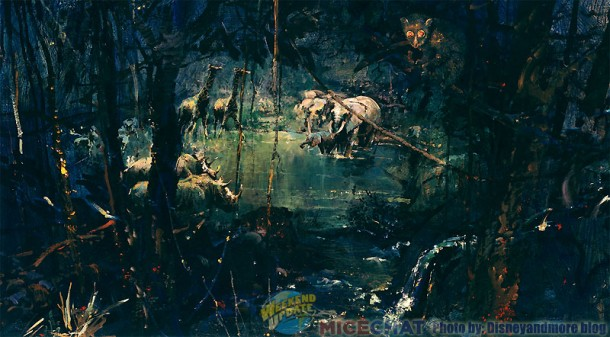Herb Ryman artwork for the waterhole scene that guests would have seen from the observation platform inside the treehouse