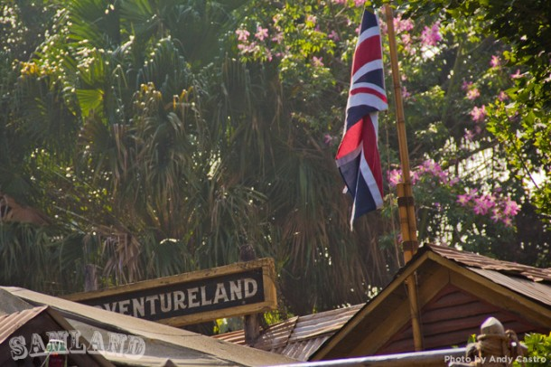A British flag flies above the Jungle Cruise boathouse as part of the attraction's new backstory
