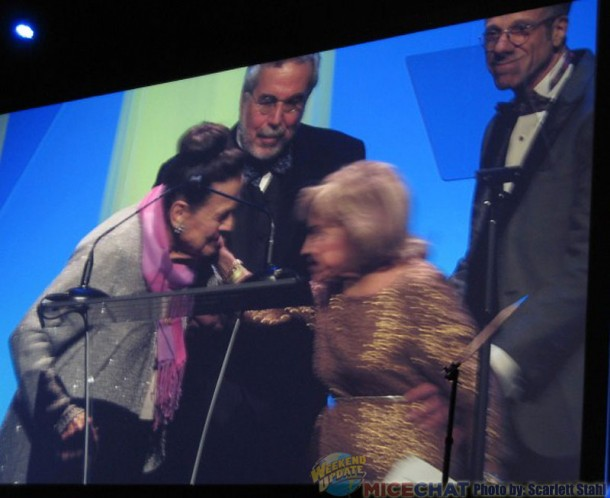 Alice Davis with June Foray ..Charles Solomon, animation critic, and Frank Gladstone, president of ASIFA-Hollywood