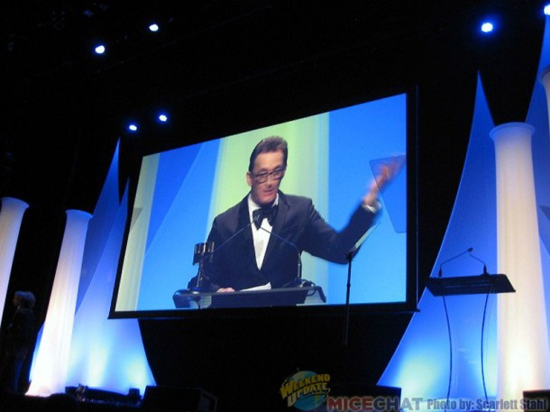 Tom Kenny, Voice of the Ice King, accepting the award for Voice Acting in an Animated Television/Broadcast Production